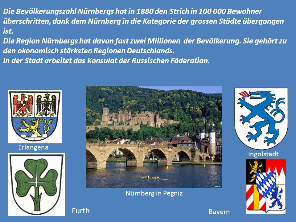 Die Bevölkerungszahl Nürnbergs hat in 1880 den Strich in 100 000 Bewohner überschritten, dank dem Nürnberg in die Kategorie der grossen Städte übergangen ist.