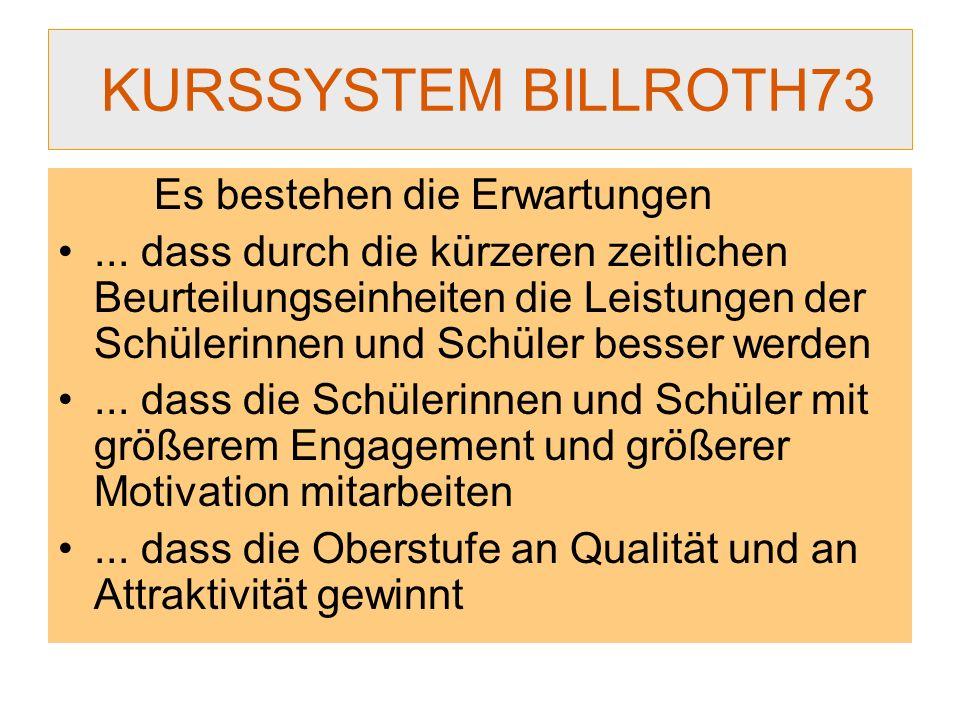KURSSYSTEM BILLROTH73 Es bestehen die Erwartungen... dass durch die kürzeren zeitlichen Beurteilungseinheiten die Leistungen der Schülerinnen und Schü