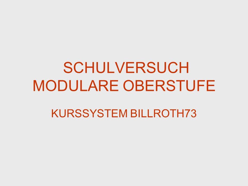 MODULARE OBERSTUFE KURSSYSTEM BILLROTH73 Standortspezifische Modifikationen Die Wiederholung von negativ beurteilten Kolloquien ist zum jeweils nächsten Termin abzulegen.