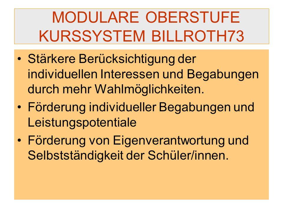 MODULARE OBERSTUFE KURSSYSTEM BILLROTH73 Stärkere Berücksichtigung der individuellen Interessen und Begabungen durch mehr Wahlmöglichkeiten. Förderung