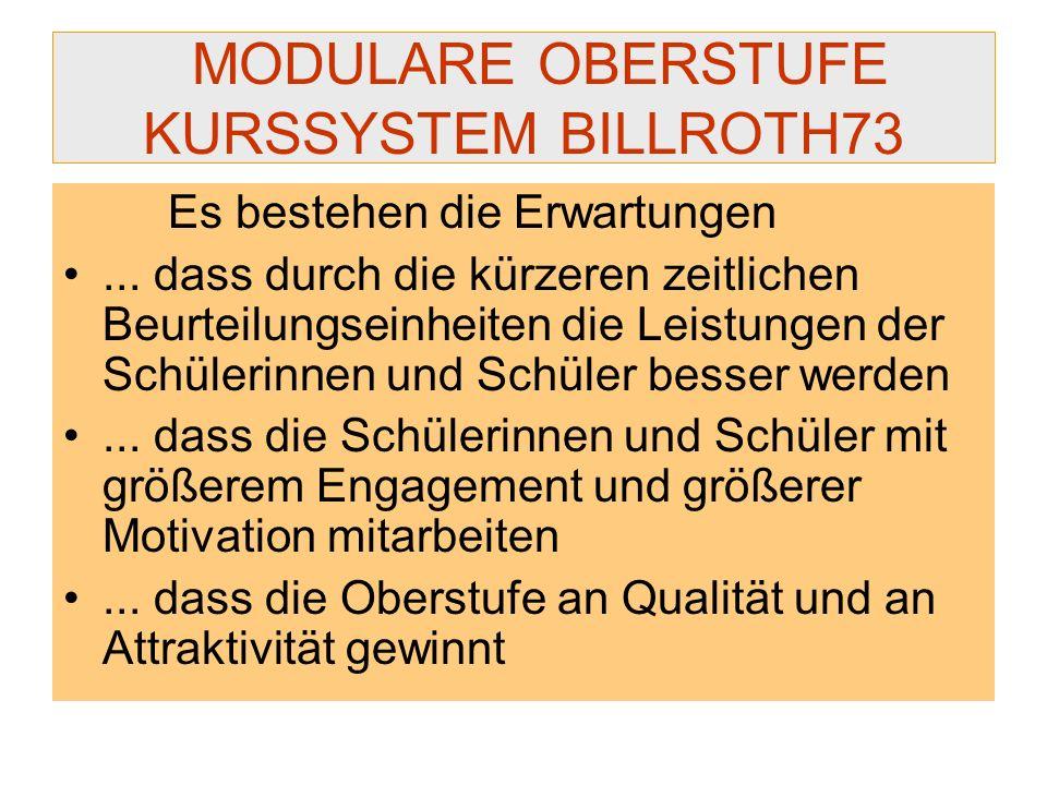 MODULARE OBERSTUFE KURSSYSTEM BILLROTH73 Es bestehen die Erwartungen... dass durch die kürzeren zeitlichen Beurteilungseinheiten die Leistungen der Sc