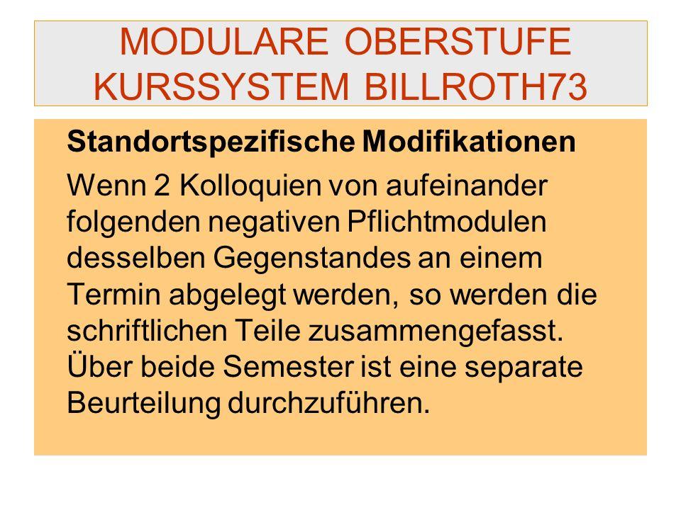 MODULARE OBERSTUFE KURSSYSTEM BILLROTH73 Standortspezifische Modifikationen Wenn 2 Kolloquien von aufeinander folgenden negativen Pflichtmodulen desse