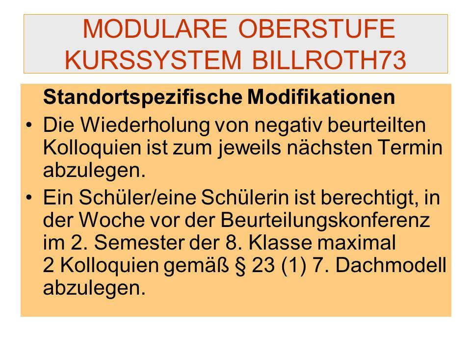 MODULARE OBERSTUFE KURSSYSTEM BILLROTH73 Standortspezifische Modifikationen Die Wiederholung von negativ beurteilten Kolloquien ist zum jeweils nächst