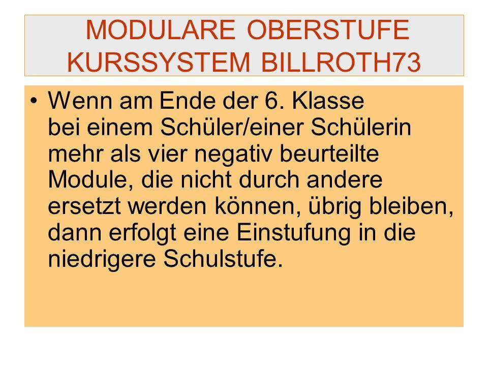 MODULARE OBERSTUFE KURSSYSTEM BILLROTH73 Wenn am Ende der 6. Klasse bei einem Schüler/einer Schülerin mehr als vier negativ beurteilte Module, die nic