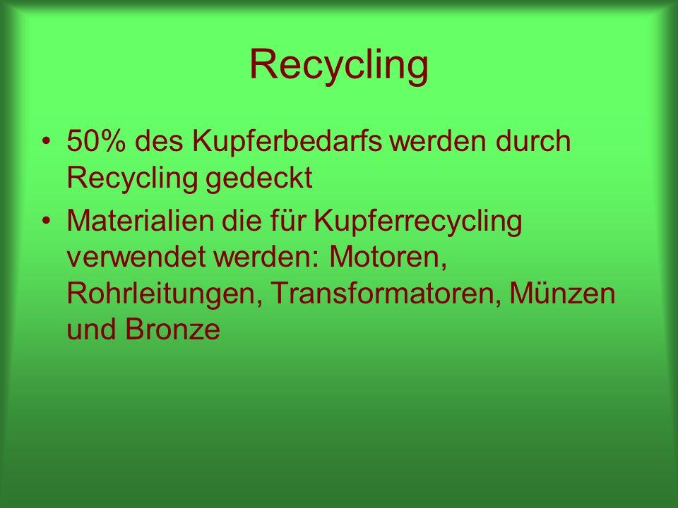Recycling 50% des Kupferbedarfs werden durch Recycling gedeckt Materialien die für Kupferrecycling verwendet werden: Motoren, Rohrleitungen, Transformatoren, Münzen und Bronze
