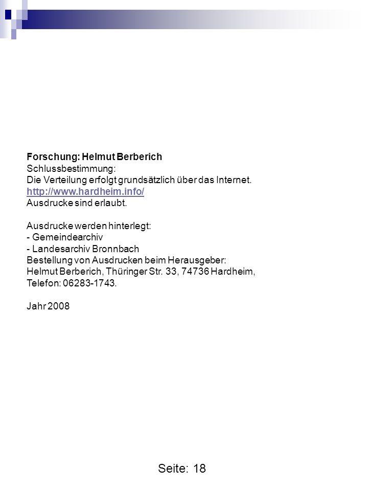 Seite: 18 Forschung: Helmut Berberich Schlussbestimmung: Die Verteilung erfolgt grundsätzlich über das Internet.