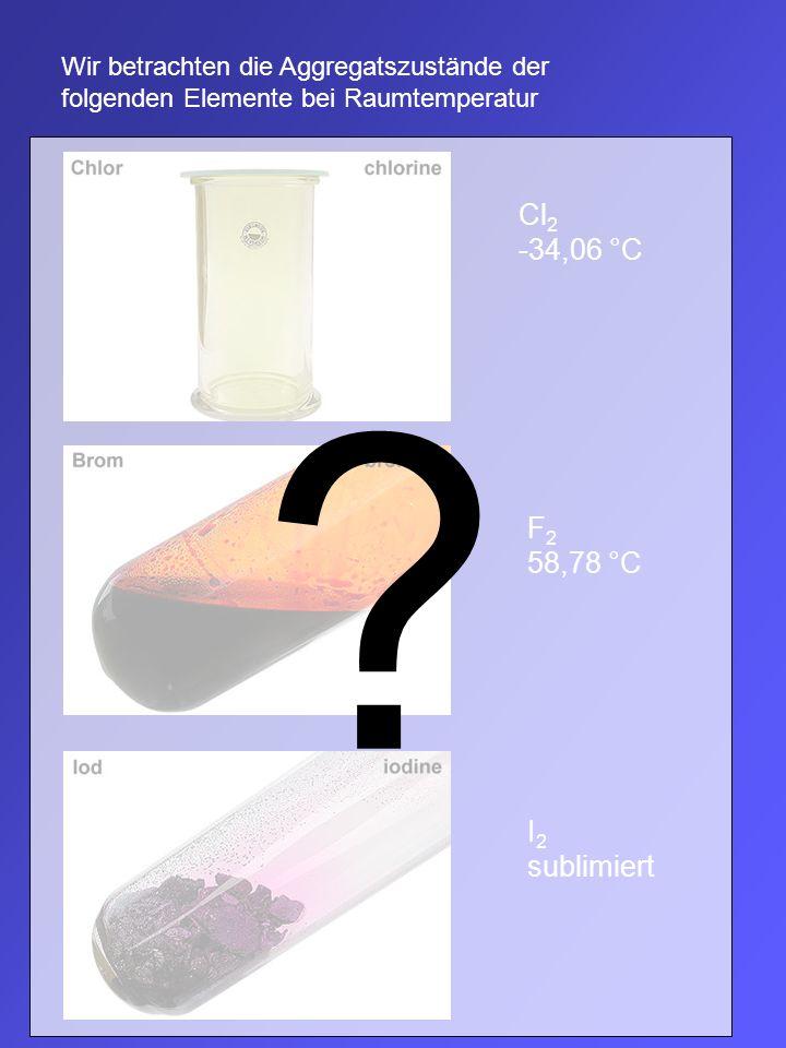 Wir betrachten die Aggregatszustände der folgenden Elemente bei Raumtemperatur Cl 2 -34,06 °C F 2 58,78 °C I 2 sublimiert ?