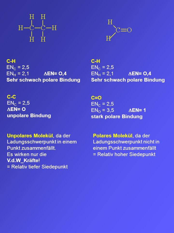C-H EN C = 2,5 EN H = 2,1 EN= O,4 Sehr schwach polare Bindung C-H EN C = 2,5 EN H = 2,1 EN= O,4 Sehr schwach polare Bindung C-C EN C = 2,5 EN= O unpol
