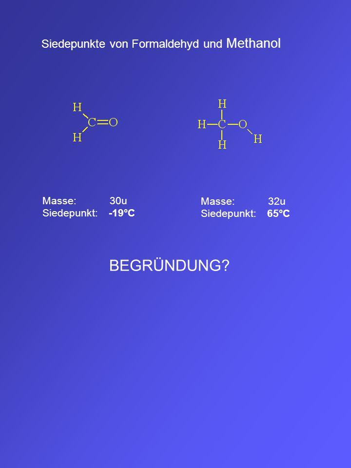 Siedepunkte von Formaldehyd und Methanol Masse: 30u Siedepunkt: -19°C Masse: 32u Siedepunkt: 65°C BEGRÜNDUNG?