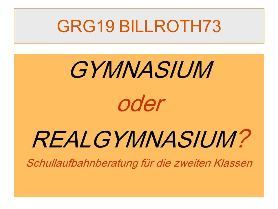 GRG19 BILLROTH73 GYMNASIUM oder REALGYMNASIUM ? Schullaufbahnberatung für die zweiten Klassen