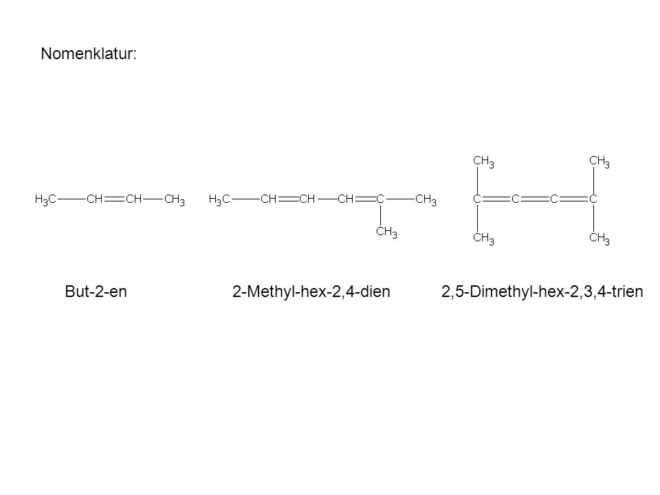 Nomenklatur: But-2-en2-Methyl-hex-2,4-dien 2,5-Dimethyl-hex-2,3,4-trien