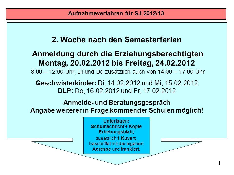 I 2. Woche nach den Semesterferien Anmeldung durch die Erziehungsberechtigten Anmeldung durch die Erziehungsberechtigten Montag, 20.02.2012 bis Freita