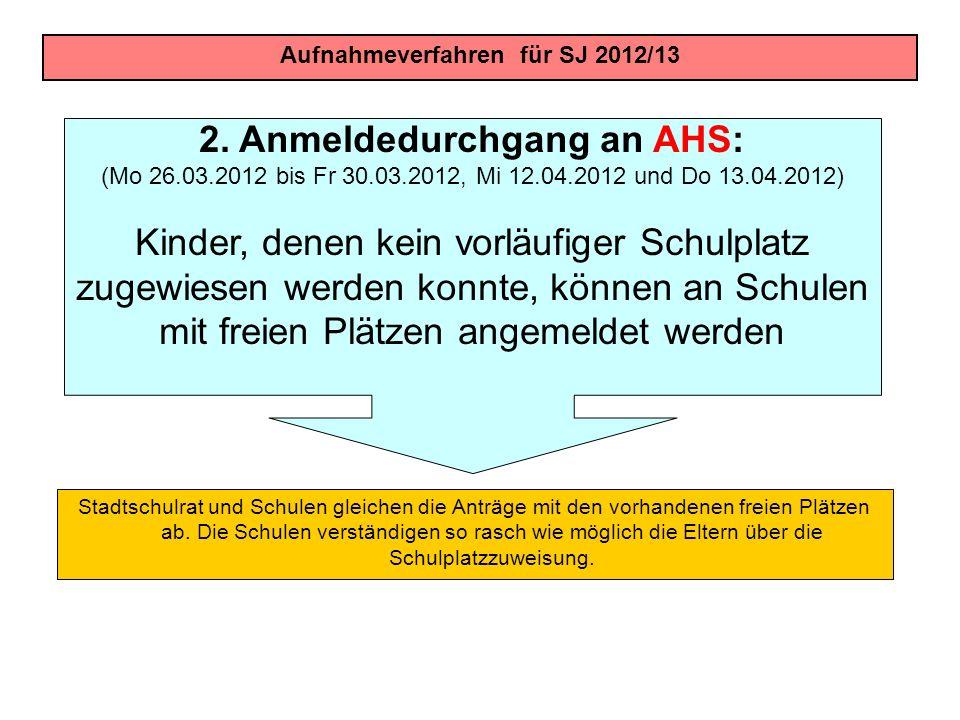 Aufnahmeverfahren für SJ 2012/13 2. Anmeldedurchgang an AHS: (Mo 26.03.2012 bis Fr 30.03.2012, Mi 12.04.2012 und Do 13.04.2012) Kinder, denen kein vor