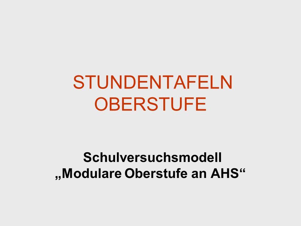STUNDENTAFELN OBERSTUFE Schulversuchsmodell Modulare Oberstufe an AHS