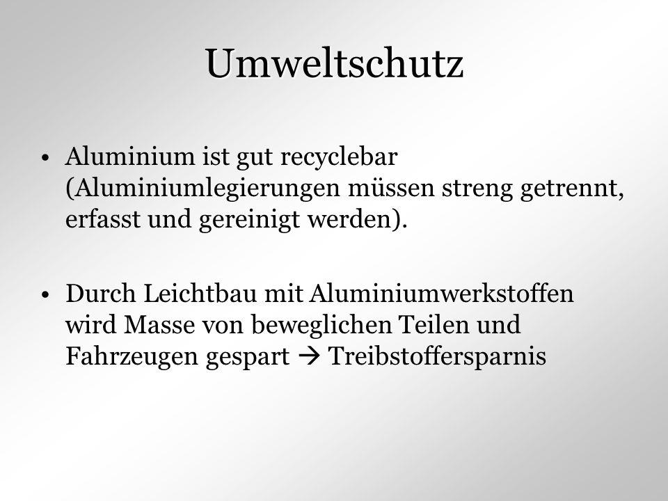 Umweltschutz Aluminium ist gut recyclebar (Aluminiumlegierungen müssen streng getrennt, erfasst und gereinigt werden). Durch Leichtbau mit Aluminiumwe