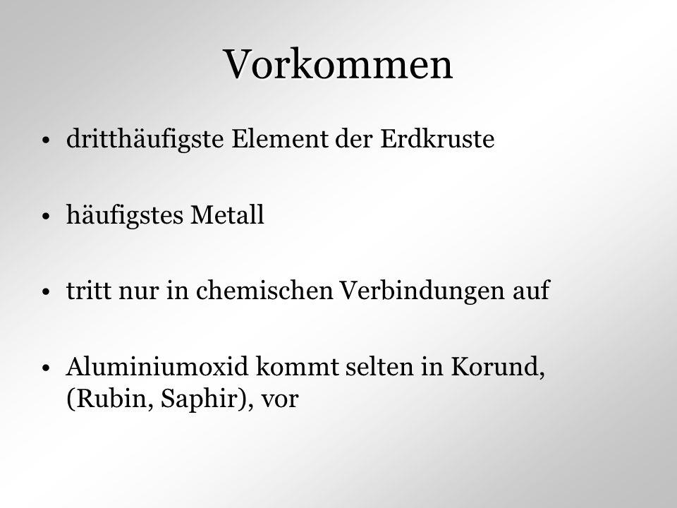 Vorkommen dritthäufigste Element der Erdkruste häufigstes Metall tritt nur in chemischen Verbindungen auf Aluminiumoxid kommt selten in Korund, (Rubin