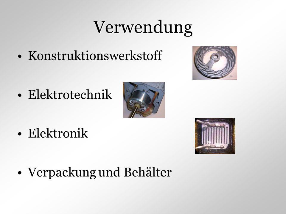 Verwendung Konstruktionswerkstoff Elektrotechnik Elektronik Verpackung und Behälter