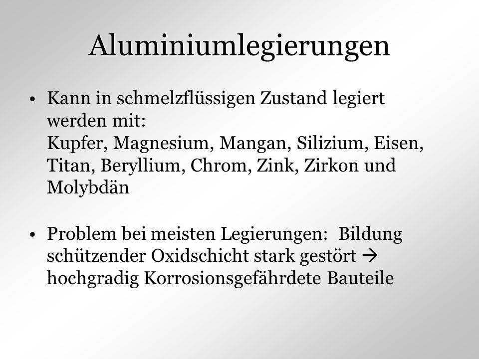 Aluminiumlegierungen Kann in schmelzflüssigen Zustand legiert werden mit: Kupfer, Magnesium, Mangan, Silizium, Eisen, Titan, Beryllium, Chrom, Zink, Z