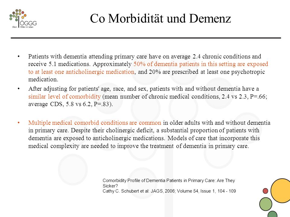 Co Morbidität und Demenz Patients with dementia attending primary care have on average 2.4 chronic conditions and receive 5.1 medications.
