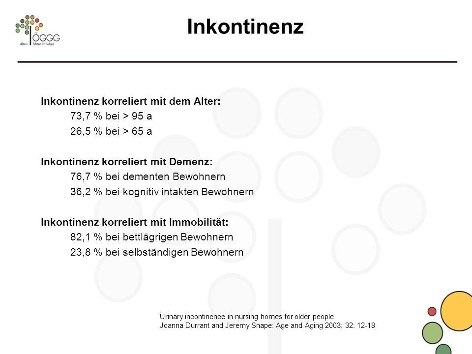 Inkontinenz Inkontinenz korreliert mit dem Alter: 73,7 % bei > 95 a 26,5 % bei > 65 a Inkontinenz korreliert mit Demenz: 76,7 % bei dementen Bewohnern 36,2 % bei kognitiv intakten Bewohnern Inkontinenz korreliert mit Immobilität: 82,1 % bei bettlägrigen Bewohnern 23,8 % bei selbständigen Bewohnern Urinary incontinence in nursing homes for older people Joanna Durrant and Jeremy Snape: Age and Aging 2003; 32: 12-18