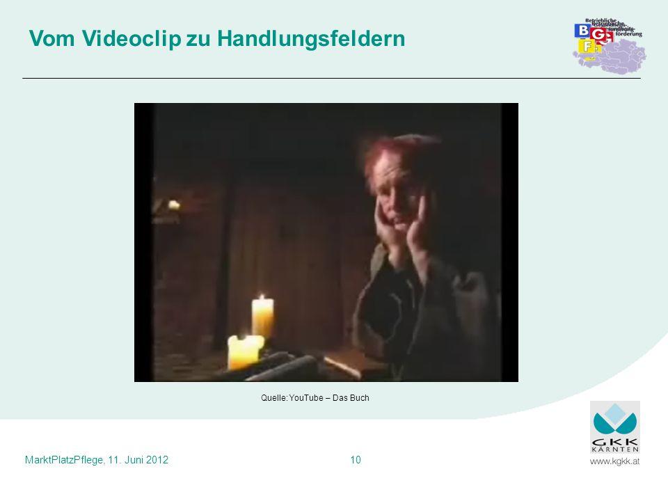 MarktPlatzPflege, 11. Juni 201210 Vom Videoclip zu Handlungsfeldern Quelle: YouTube – Das Buch