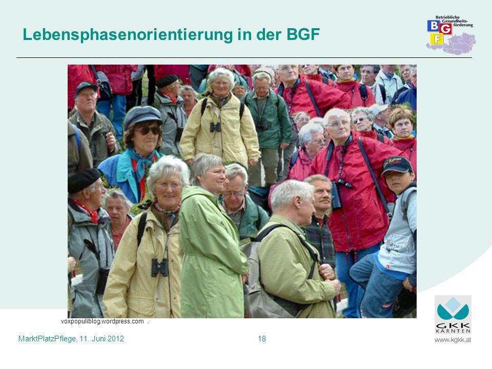 MarktPlatzPflege, 11. Juni 201218 Lebensphasenorientierung in der BGF voxpopuliblog.wordpress.com.