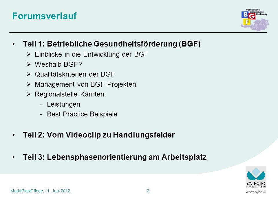 MarktPlatzPflege, 11. Juni 20122 Forumsverlauf Teil 1: Betriebliche Gesundheitsförderung (BGF) Einblicke in die Entwicklung der BGF Weshalb BGF? Quali