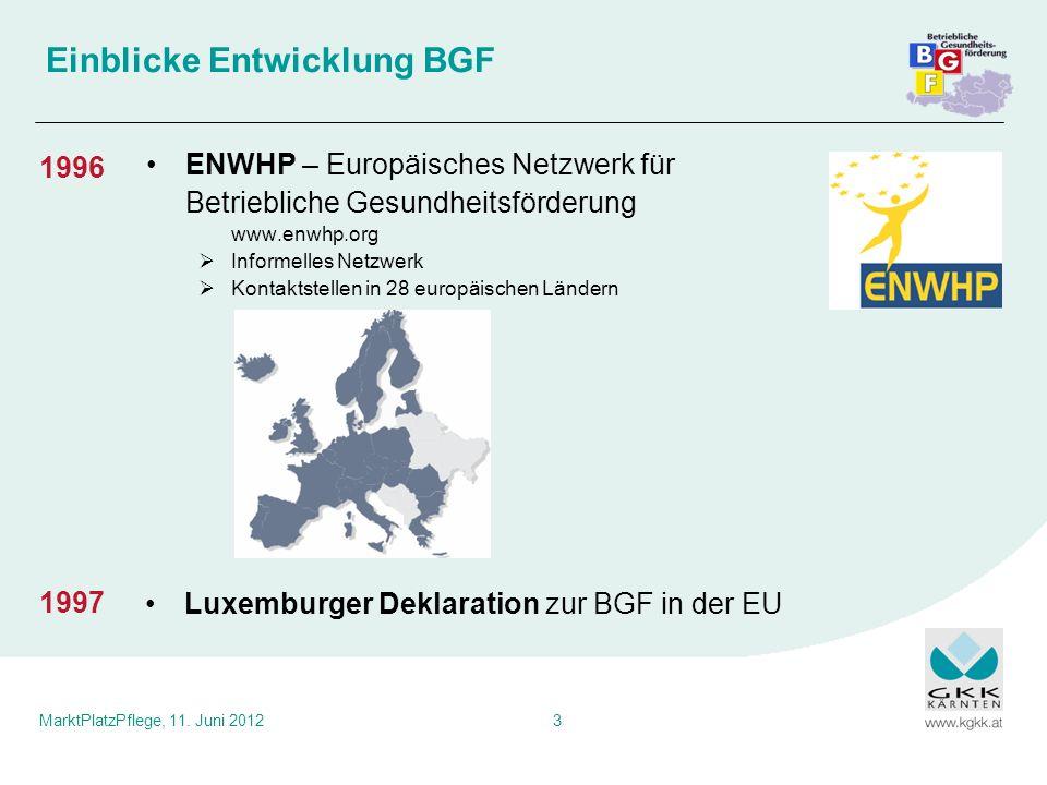 MarktPlatzPflege, 11. Juni 20123 Einblicke Entwicklung BGF ENWHP – Europäisches Netzwerk für Betriebliche Gesundheitsförderung www.enwhp.org Informell