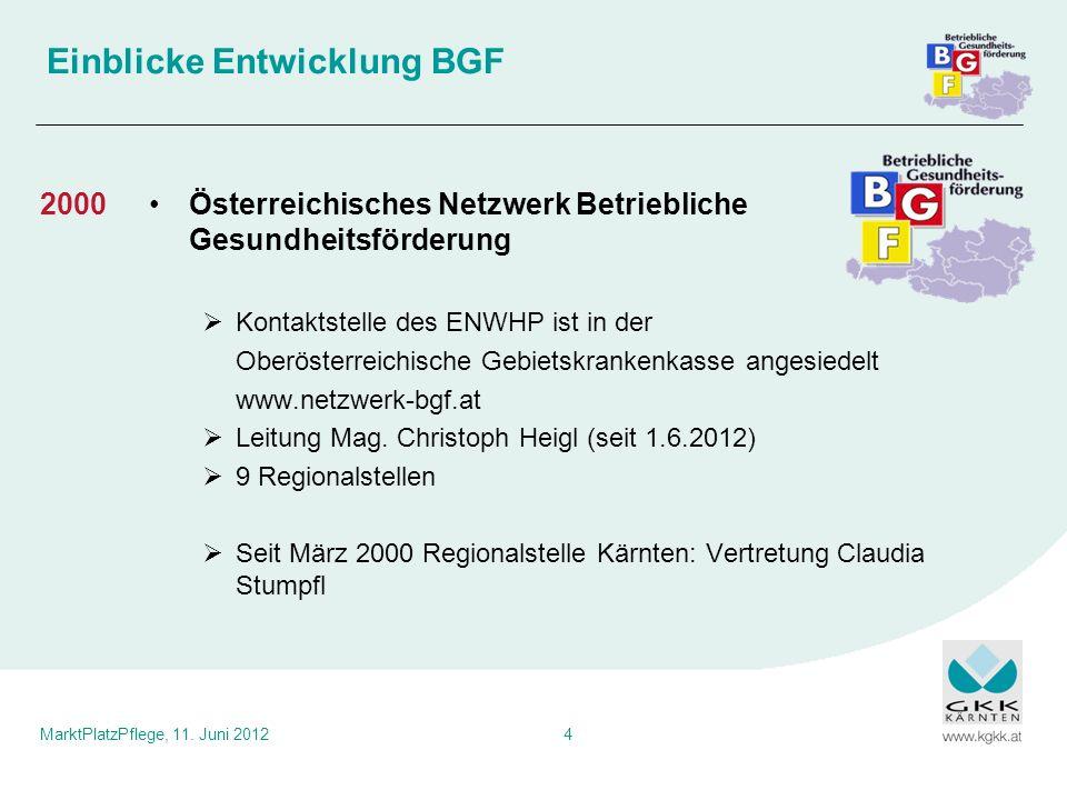 MarktPlatzPflege, 11. Juni 20124 Einblicke Entwicklung BGF Österreichisches Netzwerk Betriebliche Gesundheitsförderung Kontaktstelle des ENWHP ist in