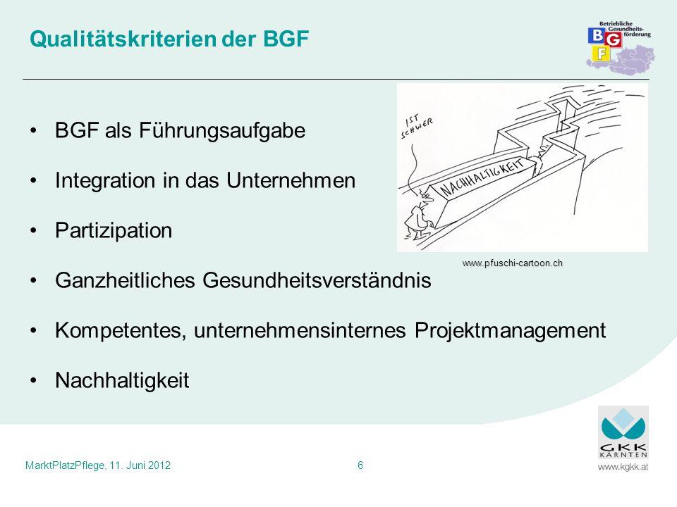 MarktPlatzPflege, 11. Juni 20126 Qualitätskriterien der BGF BGF als Führungsaufgabe Integration in das Unternehmen Partizipation Ganzheitliches Gesund