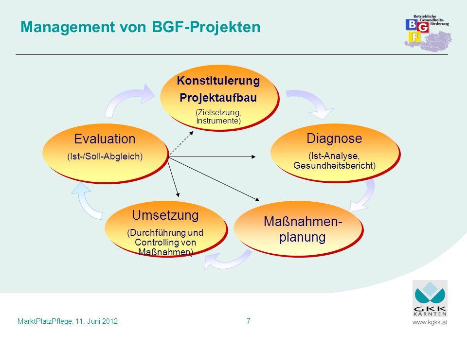 MarktPlatzPflege, 11. Juni 20127 Management von BGF-Projekten Diagnose (Ist-Analyse, Gesundheitsbericht) Maßnahmen- planung Umsetzung (Durchführung un