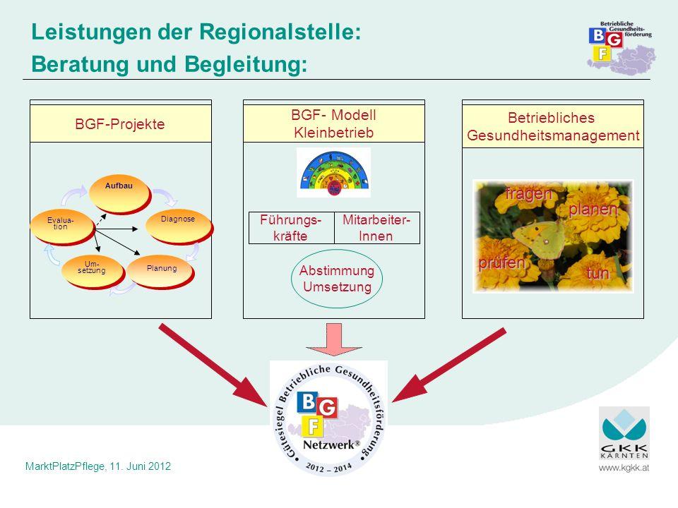 MarktPlatzPflege, 11. Juni 20128 Leistungen der Regionalstelle: Beratung und Begleitung: Diagnose Planung Um- setzung Evalua- tion Aufbau BGF-Projekte