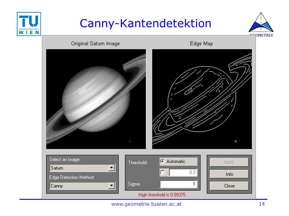 14 www.geometrie.tuwien.ac.at GEOMETRIE Canny-Kantendetektion