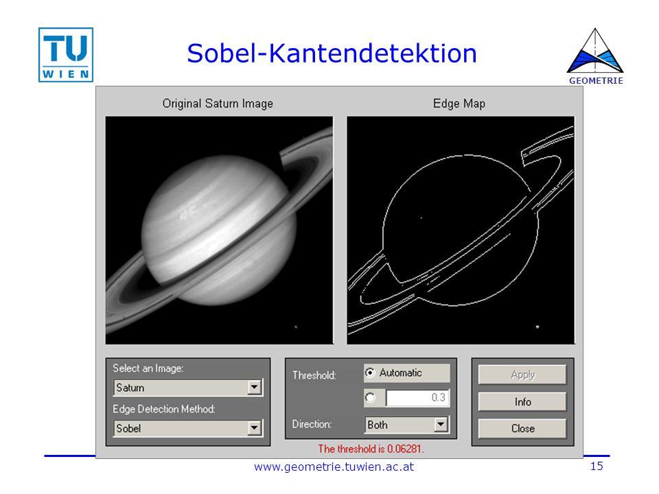 15 www.geometrie.tuwien.ac.at GEOMETRIE Sobel-Kantendetektion