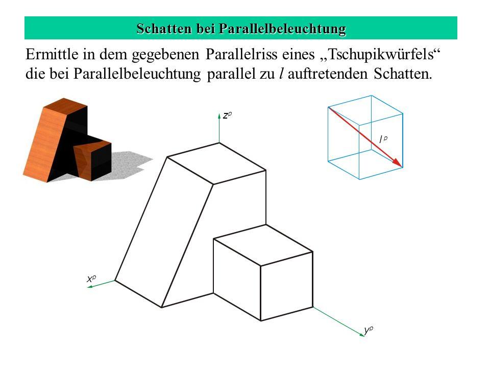Schatten bei Parallelbeleuchtung zpzp xpxp ypyp l p Ermittle in dem gegebenen Parallelriss eines Tschupikwürfels die bei Parallelbeleuchtung parallel