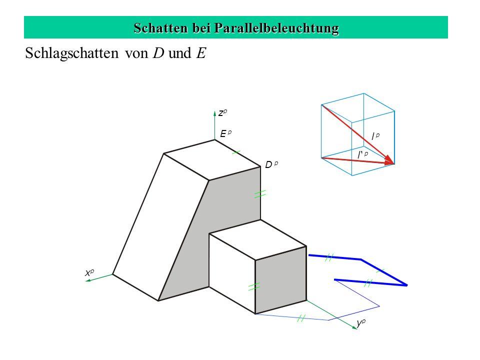 Schatten bei Parallelbeleuchtung Schlagschatten von D und E zpzp xpxp ypyp l p D p E p