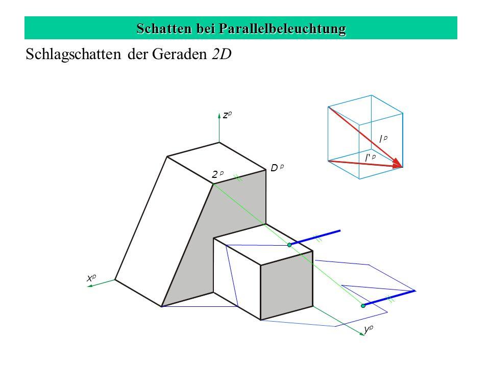 Schatten bei Parallelbeleuchtung Schlagschatten der Geraden 2D zpzp xpxp ypyp l p 2 p D p