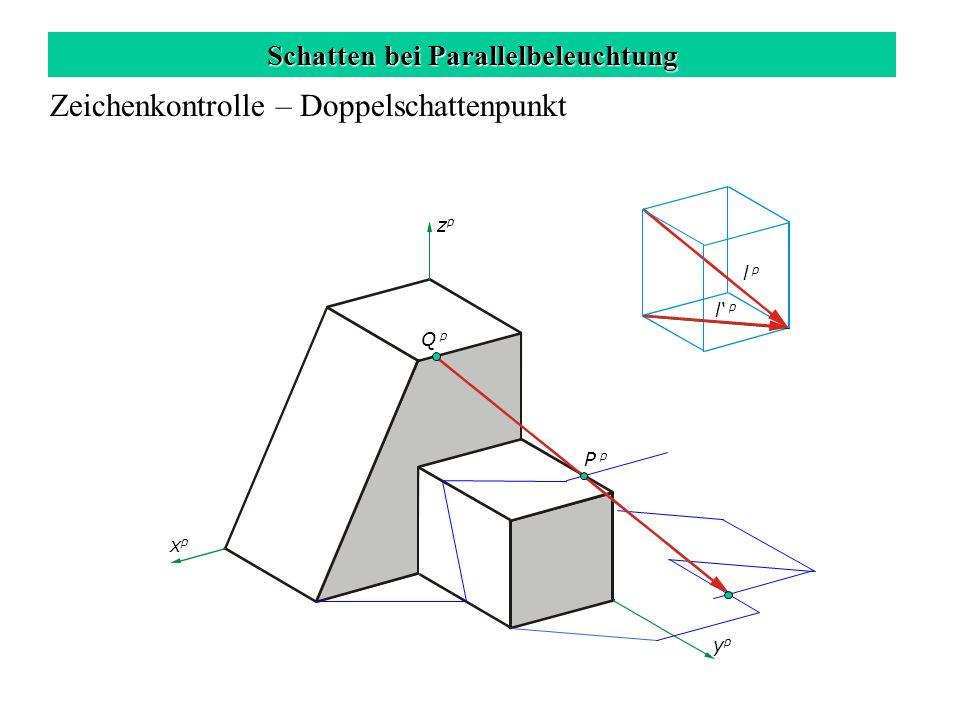 Schatten bei Parallelbeleuchtung Zeichenkontrolle – Doppelschattenpunkt zpzp xpxp ypyp l p Q p P p