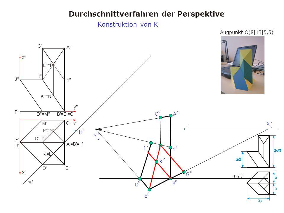 Augpunkt O(8|13|5,5) Durchschnittverfahren der Perspektive a a 2a a=2,5 x y y z A A=B=1 B=E=G C=I C I D M D=M E F J F J K=L K=N L=P 1 G P=N H, X u c Y u c H B c A c C c D c Konstruktion von K E c G c 1 c J c I c K c