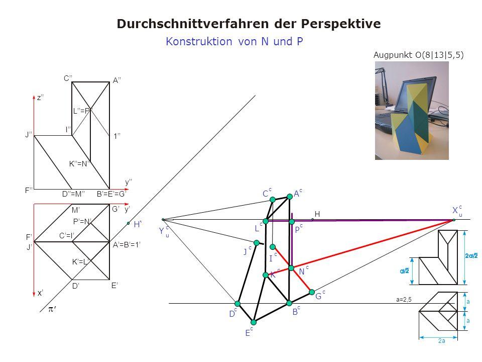 Augpunkt O(8|13|5,5) Durchschnittverfahren der Perspektive a a 2a a=2,5 x y y z A A=B=1 B=E=G C=I C I D M D=M E F J F J K=L K=N L=P 1 G P=N H, X u c Y u c H B c A c C c D c Konstruktion von N und P E c G c P c J c I c K c L c N c