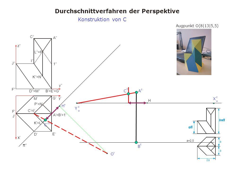 Augpunkt O(8|13|5,5) Durchschnittverfahren der Perspektive a a 2a a=2,5 x y y z A A=B=1 B=E=G C=I C I D M D=M E F J F J K=L K=N L=P 1 G P=N H, Konstruktion von C X u c Y u c H O B c A c C c C c