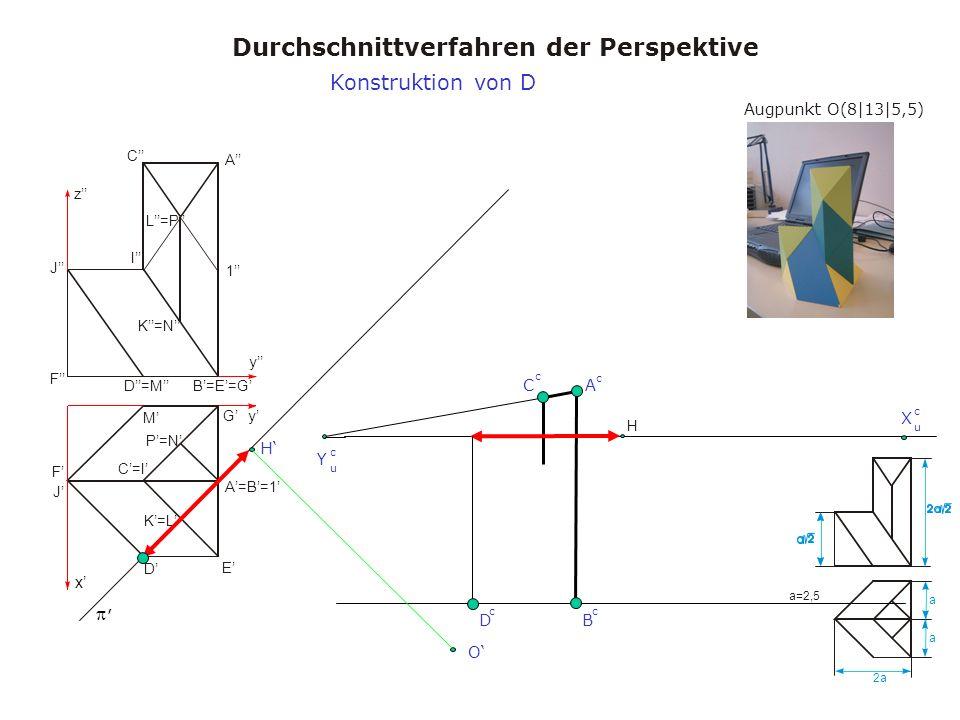 Augpunkt O(8|13|5,5) Durchschnittverfahren der Perspektive a a 2a a=2,5 x y y z A A=B=1 B=E=G C=I C I D M D=M E F J F J K=L K=N L=P 1 G P=N H, X u c Y u c H O B c A c C c D c Konstruktion von D