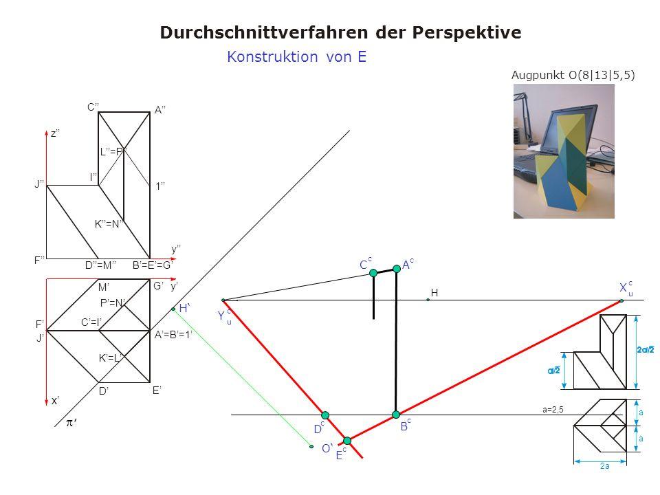 Augpunkt O(8|13|5,5) Durchschnittverfahren der Perspektive a a 2a a=2,5 x y y z A A=B=1 B=E=G C=I C I D M D=M E F J F J K=L K=N L=P 1 G P=N H, X u c Y u c H O B c A c C c D c Konstruktion von E E c