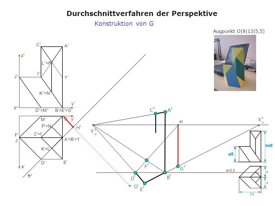 Augpunkt O(8|13|5,5) Durchschnittverfahren der Perspektive a a 2a a=2,5 x y y z A A=B=1 B=E=G C=I C I D M D=M E F J F J K=L K=N L=P 1 G P=N H, X u c Y u c H O B c A c C c D c Konstruktion von G E c F c G c