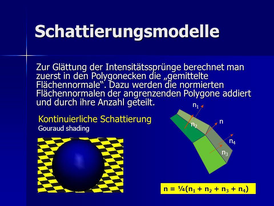 Schattierungsmodelle Kontinuierliche Schattierung Gouraud shading Zur Glättung der Intensitätssprünge berechnet man zuerst in den Polygonecken die gem