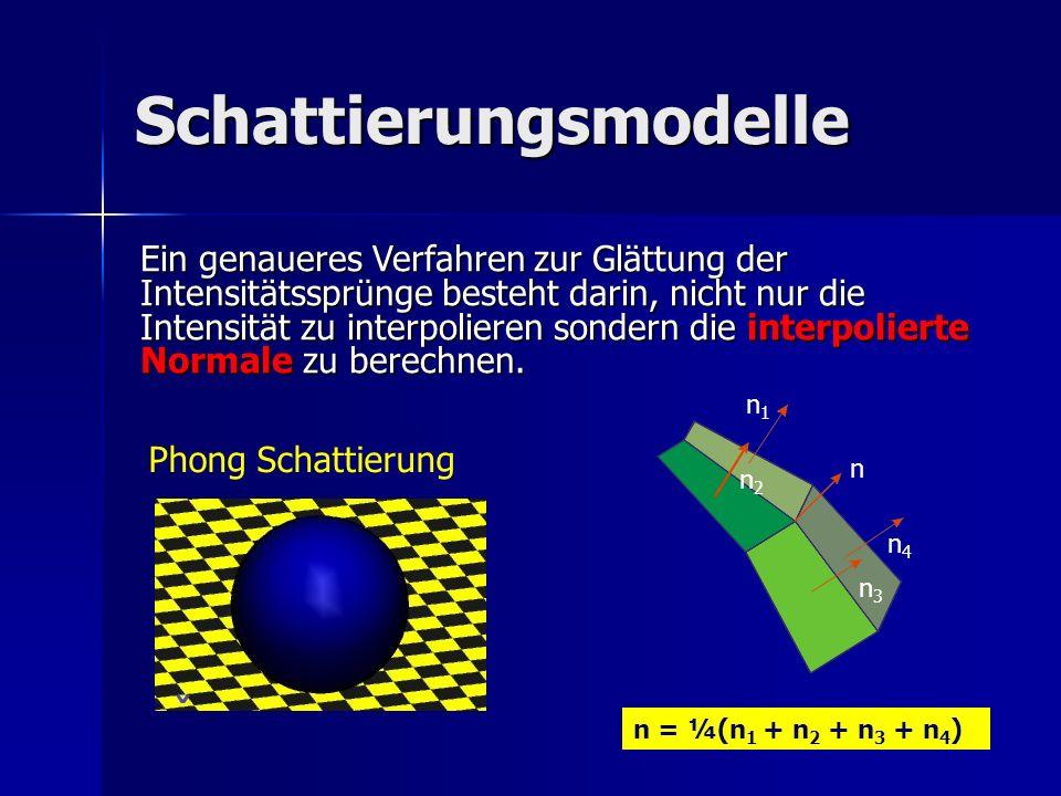 Schattierungsmodelle Phong Schattierung Ein genaueres Verfahren zur Glättung der Intensitätssprünge besteht darin, nicht nur die Intensität zu interpo