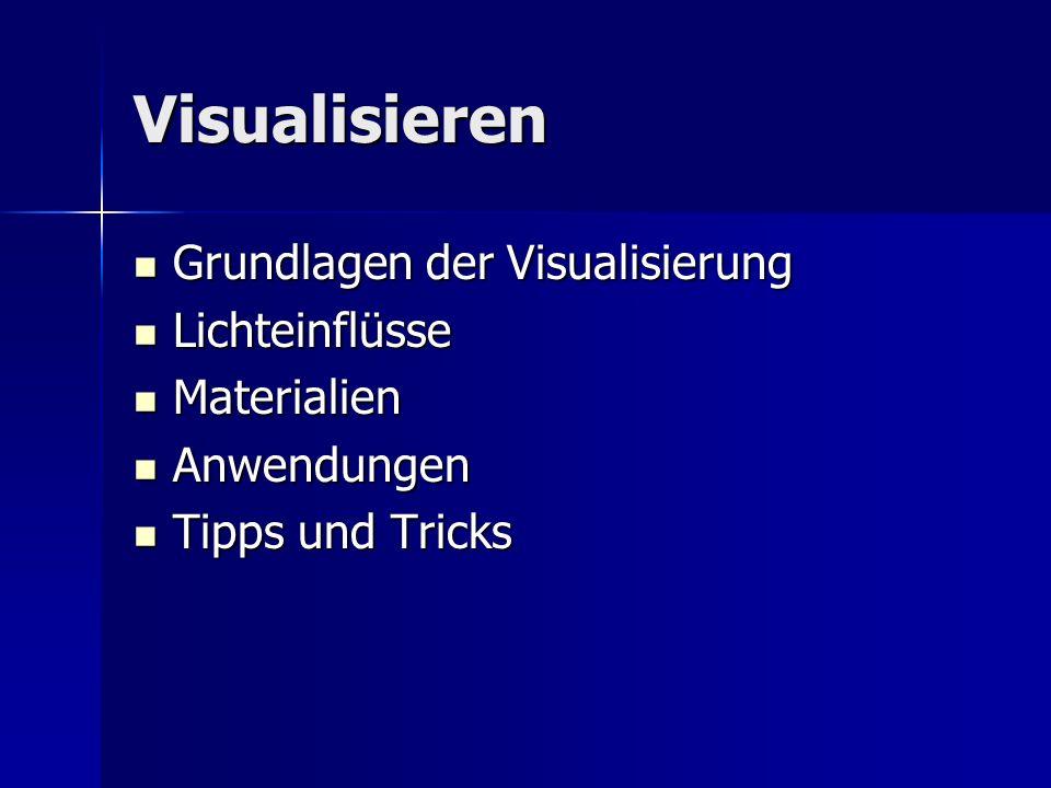 Visualisieren Grundlagen der Visualisierung Grundlagen der Visualisierung Lichteinflüsse Lichteinflüsse Materialien Materialien Anwendungen Anwendunge