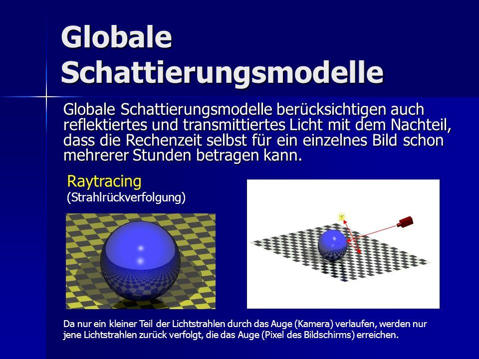 Globale Schattierungsmodelle Raytracing (Strahlrückverfolgung) Globale Schattierungsmodelle berücksichtigen auch reflektiertes und transmittiertes Lic