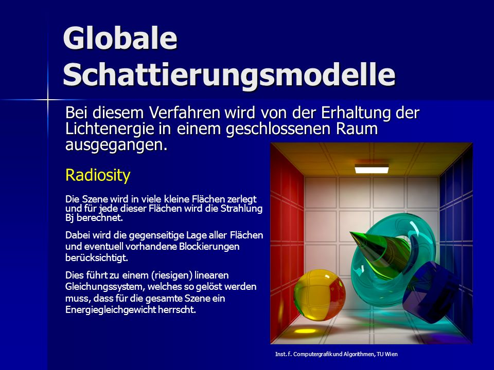 Globale Schattierungsmodelle Radiosity Bei diesem Verfahren wird von der Erhaltung der Lichtenergie in einem geschlossenen Raum ausgegangen. Die Szene