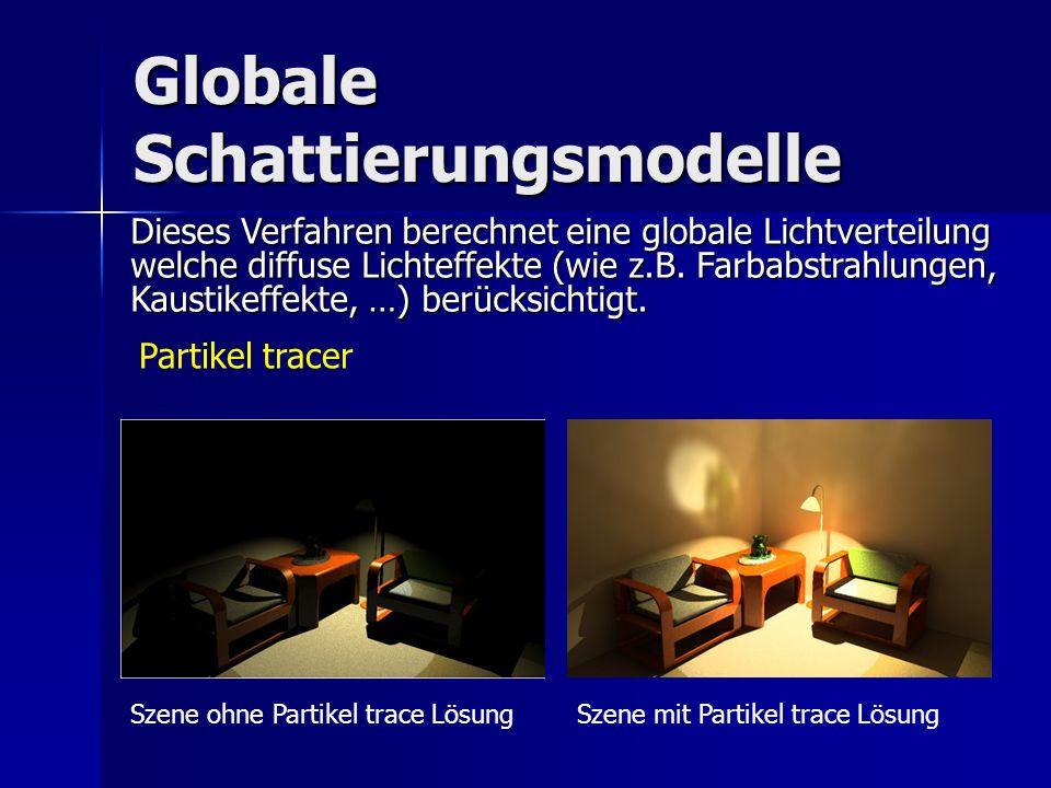 Globale Schattierungsmodelle Partikel tracer Dieses Verfahren berechnet eine globale Lichtverteilung welche diffuse Lichteffekte (wie z.B. Farbabstrah